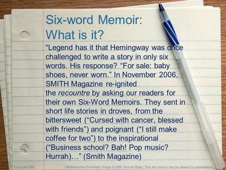 "six word essay hemingway Zack wortman jokes about ernest hemingway's attempt to extend his fame at writing six-word stories like ""for sale: baby shoes never worn."