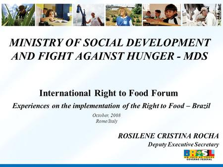 MINISTRY OF SOCIAL DEVELOPMENT AND FIGHT AGAINST HUNGER - MDS ROSILENE CRISTINA ROCHA Deputy Executive Secretary Experiences on the implementation of the.