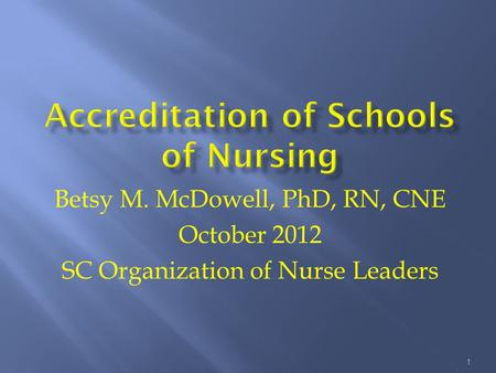 Betsy M. McDowell, PhD, RN, CNE October 2012 SC Organization of Nurse Leaders 1.