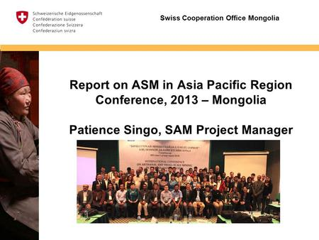 Insert image Report on ASM in Asia Pacific Region Conference, 2013 – Mongolia Patience Singo, SAM Project Manager Swiss Cooperation Office Mongolia.