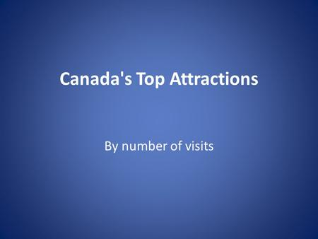 Canada's Top Attractions By number of visits. 1. Niagara Falls, Ontario: 12 - 14 million You can see the Falls from the viewing area, from behind them,