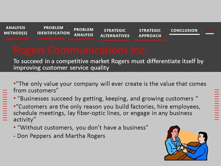 "Rogers Communications Inc. To succeed in a competitive market Rogers must differentiate itself by improving customer service quality ""The only value your."
