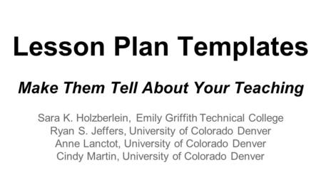Learning Lessons Implementing The Autonomy Approach Brian R - University lesson plan template