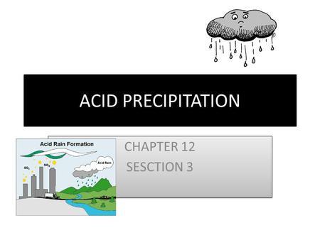 ACID PRECIPITATION CHAPTER 12 SESCTION 3 CHAPTER 12 SESCTION 3.