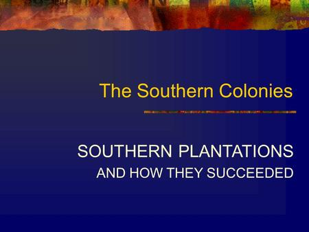The Southern Colonies SOUTHERN PLANTATIONS AND HOW THEY SUCCEEDED.
