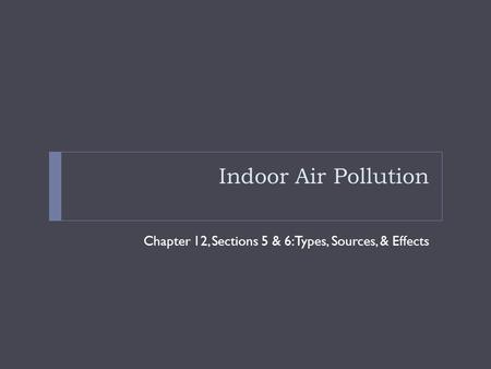 Indoor Air Pollution Chapter 12, Sections 5 & 6: Types, Sources, & Effects.
