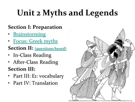 Unit 2 Myths and Legends Section I: Preparation Brainstorming Focus: Greek myths Section II: (questions based) (questions based) In-Class Reading After-Class.