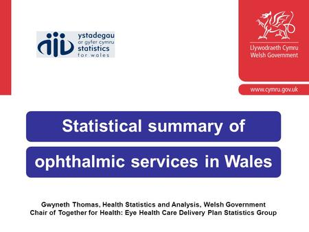 Gwyneth Thomas, Health Statistics and Analysis, Welsh Government Chair of Together for Health: Eye Health Care Delivery Plan Statistics Group Statistical.