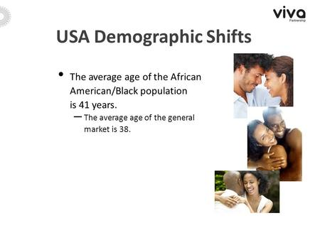 USA Demographic Shifts The average age of the African American/Black population is 41 years. – The average age of the general market is 38.