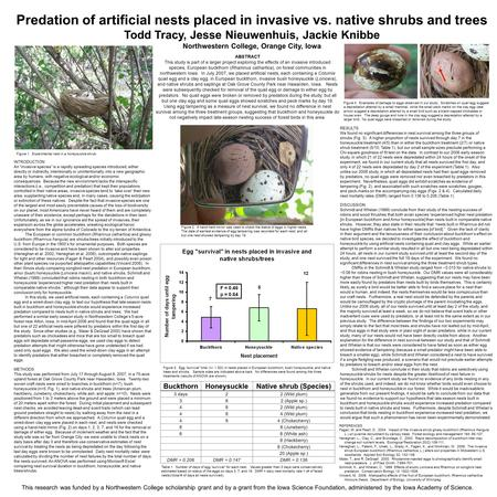 Predation of artificial nests placed in invasive vs. native shrubs and trees Todd Tracy, Jesse Nieuwenhuis, Jackie Knibbe Northwestern College, Orange.