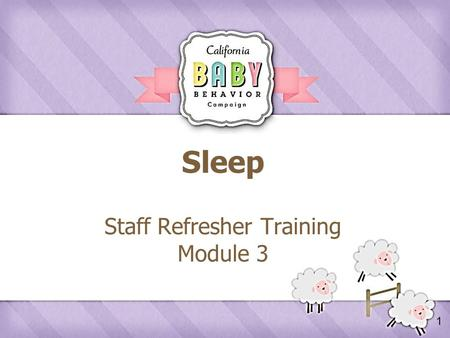1 Sleep Staff Refresher Training Module 3. 2 Agenda  Review Crying Take Home Activity  What Parents Say about Infant Sleep  Sleep Messages  Responding.