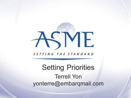 Setting Priorities Terrell Yon