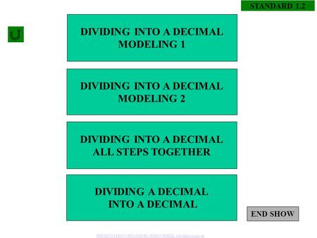 STANDARD 1.2 DIVIDING A DECIMAL INTO A DECIMAL DIVIDING INTO A DECIMAL ALL STEPS TOGETHER DIVIDING INTO A DECIMAL MODELING 2 DIVIDING INTO A DECIMAL MODELING.