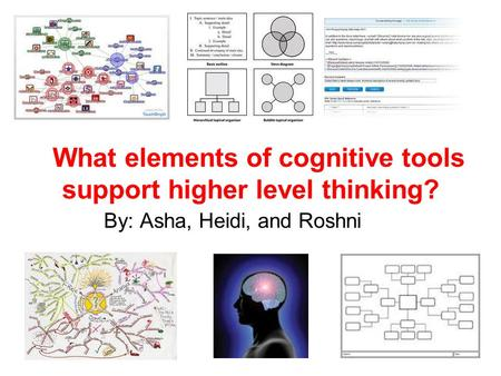 What elements of cognitive tools support higher level thinking? By: Asha, Heidi, and Roshni.