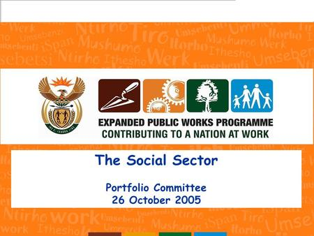 The Social Sector Portfolio Committee 26 October 2005.