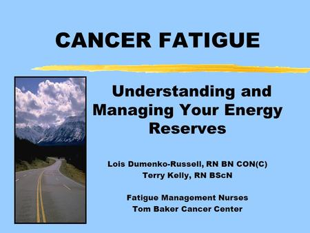 Understanding and Managing Your Energy Reserves Lois Dumenko-Russell, RN BN CON(C) Terry Kelly, RN BScN Fatigue Management Nurses Tom Baker Cancer Center.