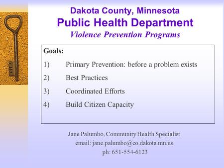 Dakota County, Minnesota Public Health Department Violence Prevention Programs Jane Palumbo, Community Health Specialist
