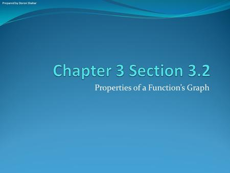 Properties of a Function's Graph