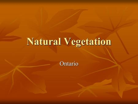 Natural Vegetation Ontario.