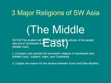 3 Major Religions of SW Asia