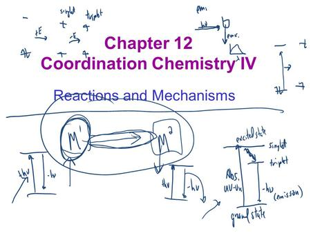Chapter 12 Coordination Chemistry IV Reactions and Mechanisms.