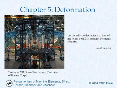 Fundamentals of Machine Elements, 3 rd ed. Schmid, Hamrock and Jacobson © 2014 CRC Press Chapter 5: Deformation Let me tell you the secret that has led.