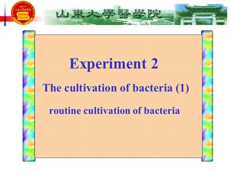 Experiment 2 routine cultivation of bacteria The cultivation of bacteria (1)