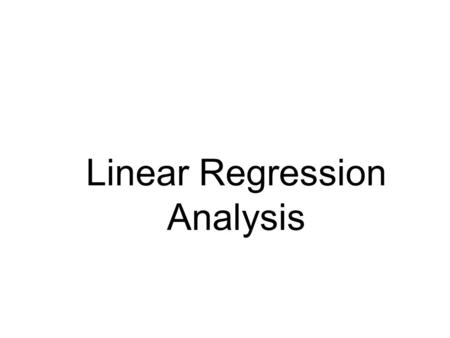 Linear Regression Analysis. Scatter Plots and Correlation A scatter plot (or scatter diagram) is used to show the relationship between two variables Correlation.