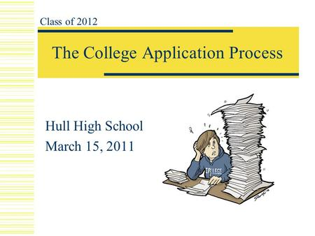 The College Application Process Hull High School March 15, 2011 Class of 2012.