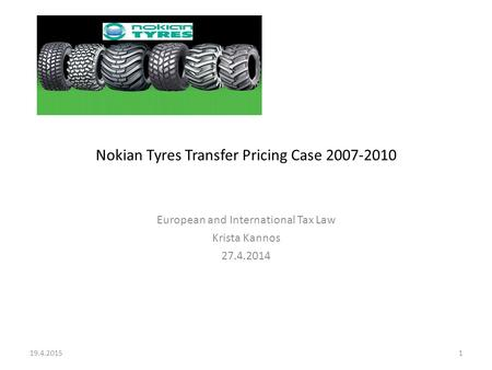 Nokian Tyres Transfer Pricing Case