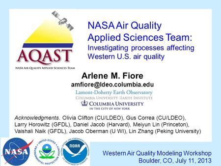 NASA Air Quality Applied Sciences Team: Investigating processes affecting Western U.S. air quality Western Air Quality Modeling Workshop Boulder, CO, July.