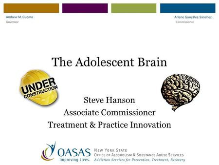 The Adolescent Brain Steve Hanson Associate Commissioner Treatment & Practice Innovation.