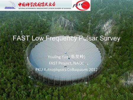 FAST Low Frequency Pulsar Survey Youling Yue ( 岳友岭 ) FAST Project, NAOC PKU Astrophysics Colloquium 2012.