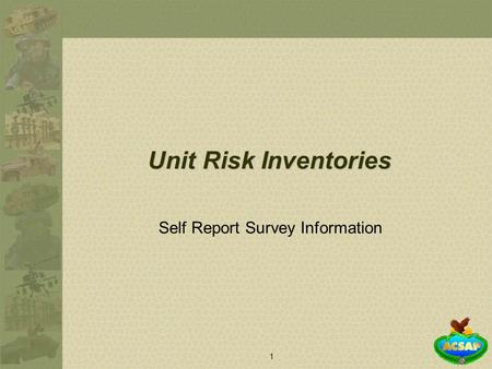 1 Self Report Survey Information Unit Risk Inventories.