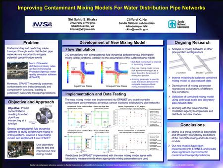 Improving Contaminant Mixing Models For Water Distribution Pipe Networks Siri Sahib S. Khalsa University of Virginia Charlottesville, VA