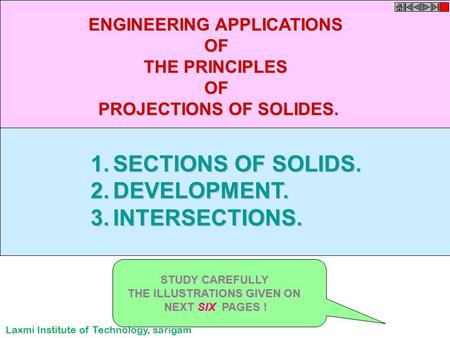 1.SECTIONS OF SOLIDS. 2.DEVELOPMENT. 3.INTERSECTIONS. ENGINEERING APPLICATIONS OF THE PRINCIPLES OF PROJECTIONS OF SOLIDES. STUDY CAREFULLY THE ILLUSTRATIONS.