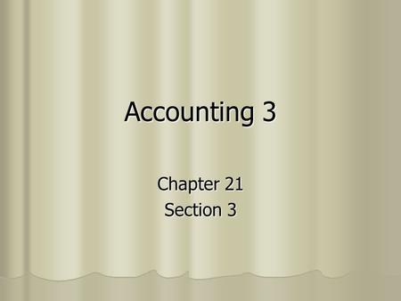 Accounting 3 Chapter 21 Section 3. Preparing Plant Asset Records A separate record is kept for each plant asset. This is called a Plant Asset Record.