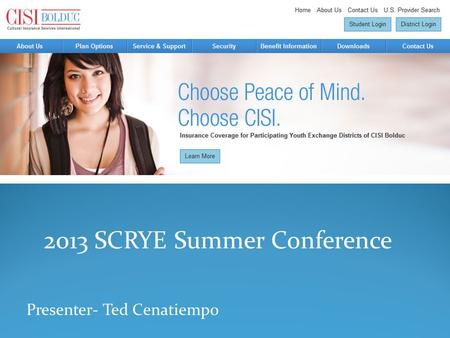 2013 SCRYE Summer Conference Presenter- Ted Cenatiempo.