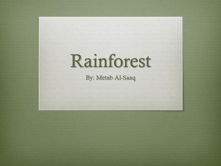 Rainforest By: Metab Al-Saaq. Where is it found?