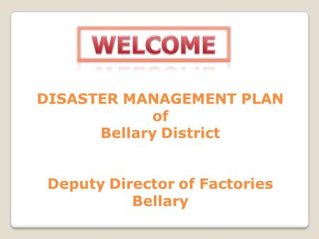 Bellary District Map Disaster Management Plan of Bellary.