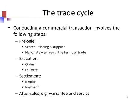 1 The trade cycle Conducting a commercial transaction involves the following steps: – Pre-Sale: Search - finding a supplier Negotiate – agreeing the terms.