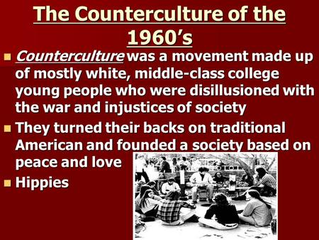 the effects of the culture movement 1960s Strike after being refused service at a luncheon counter in february 1960  a  rich history of social movements shaped progressive thought throughout the 19th  and 20th centuries  whatever affects one directly, affects all indirectly  and  cultural affairs, and international relations and national security.