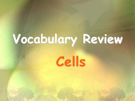 Vocabulary Review Cells.