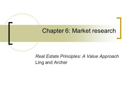 Chapter 6: Market research
