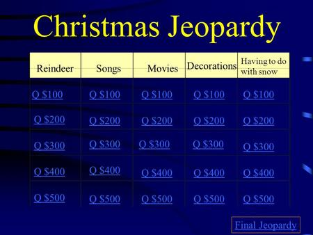 Christmas Jeopardy ReindeerSongsMovies Decorations Having to do with snow Q $100 Q $200 Q $300 Q $400 Q $500 Q $100 Q $200 Q $300 Q $400 Q $500 Final.