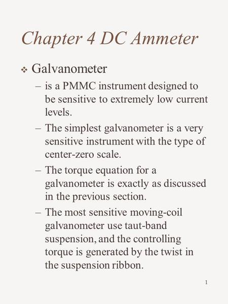 Chapter 4 DC Ammeter Galvanometer