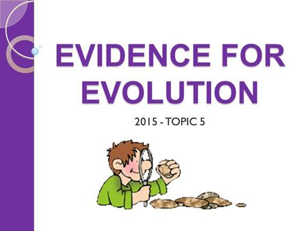 EVIDENCE FOR EVOLUTION 2015 - TOPIC 5. EVOLUTION Things to cover Biogeography The fossil record Comparing molecules Comparing anatomy.