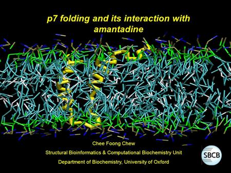 P7 folding and its interaction with amantadine Chee Foong Chew Structural Bioinformatics & Computational Biochemistry Unit Department of Biochemistry,