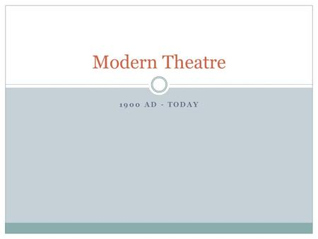 1900 AD - TODAY Modern Theatre. Drama also began in colleges and universities. There had been no courses in Drama till 1903 -- although there had been.