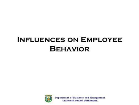 Department of Business and Management Universiti Brunei Darussalam Influences on Employee Behavior.